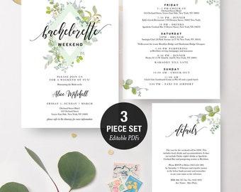 INSTANT DOWNLOAD Bachelorette Weekend Invitation Printable Set - Greenery Diamond