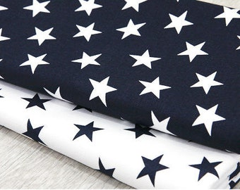 Stars Oxford Cotton Fabric - Navy and White Stars - Home Decor Fabric - By the Yard 45001 - 212