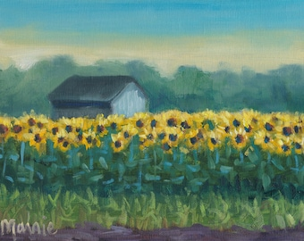 Sunflower barn,  oil painting, ready to hang, original art, americana