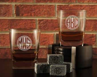 Traditional Rocks Lowball Tumblers with Monogrammed Whiskey Stones and Shot Glasses Personalized with Groomsman Design Options (Each)
