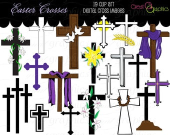 Cross Clip Art Cross Digital Clip Art, Clipart Cross Easter Cross Clipart Printable Easter Christian Cross Instant Download