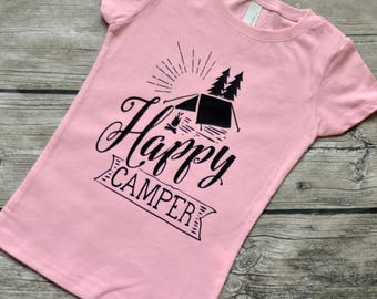 Happy Camper  Girls Youth Camping Vinyl Graphic T-Shirt Sizes 3-16 & multiple colors