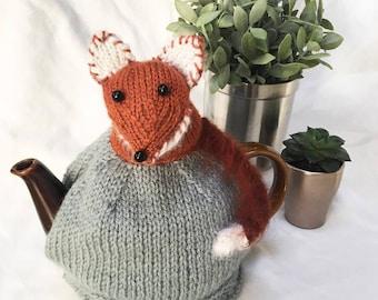 Fox Teapot Cosy - Hand knitted tea cosy - Tea Cosy - Fox Gifts - Mothers Day Gift - Teapot - knitted tea cosy - Tea Cozy