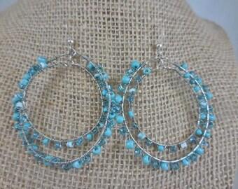Vintage Double Hoop Turquoise Earrings