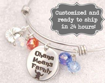 Lilo & Stitch  - Ohana Means Family Bracelet,  Lilo and Stitch DISNEY Inspired Bracelet, Custom Name Charm Bracelet, Adjustable Bangle,