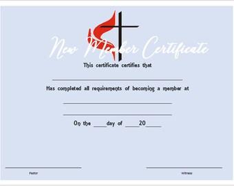 United Methodist New Member Certificate