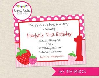 Strawberry Birthday Invitation, Strawberry Birthday, Strawberry Printables, Strawberry Birthday Decorations, Lauren Haddox Designs
