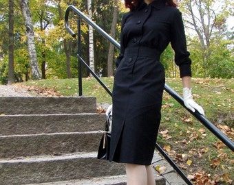 50's reproduction black wool walking dress Francoise -dress, Made to order, all sizes