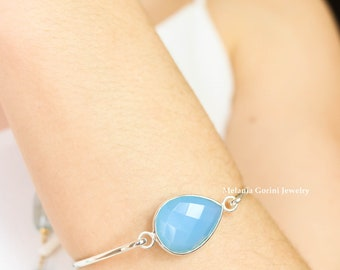 MAURITIUS Bracelet-925 sterling silver bracelet with big faceted blue chalcedony – 925 sterling silver bangle