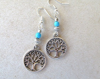 Tree of life earrings beaded earrings howlite turquoise earrings boho earrings hippie earrings drop dangle earrings silver earrings new age.