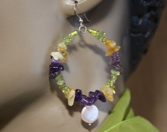 "Dangle Hoop earrings,  Amethyst, Citrine, Peridot stones,  3"" L"