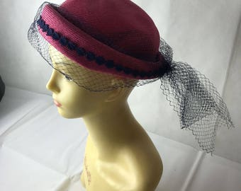 Jacoll True Vintage Pink and navy 1950's hat