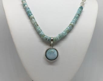 Larimar Heishi Bead Necklace and Pendant