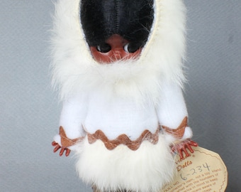 Carlson Dolls Collectible Doll 6-234 Vintage Dolls Fur Leather Hair Perfect New Condition
