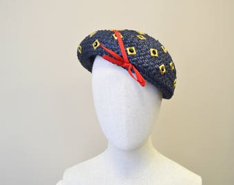 1960s Mr. John Jr. Navy Straw Hat with Grommets