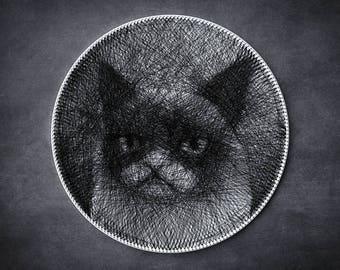 Sad cat, Pet, Picture of thread, Cat Portrait, Thread Art, Funny Gift, String Artwork, Home Decor, Unique Gift, Animal Lover, Wall decor