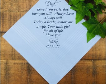 Father of the Bride, Wedding Handkerchief Gift, Parents Wedding Gift, from Bride and Groom, Wedding Gift, Wedding Favors PRINTED (H 221)