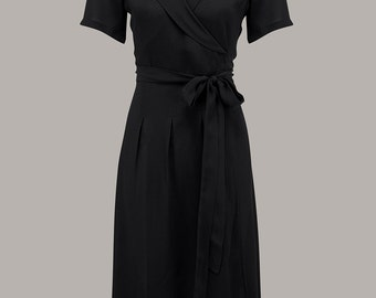 Peggy Wrap Dress in Black by The Seamstress of Bloomsbury | Authentic Vintage 1940's Style