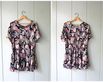 90s Floral Mini Dress | Thin Rayon Gauze Minidress | Grunge Flirty Flower Mini Sundress 1990s Revival Vintage Boho Babydoll Womens Medium
