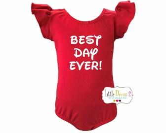 Red Leotard BEST DAY EVER! -Flutter Sleeve Leotard (Children's) disney ,leotard,kids