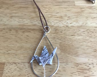 Origami Floating Crane Necklace