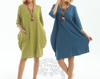 Anysize  with pockets sides slit soft linen&cotton Lantern loose dress  Spring Summer dress plus size dress plus size clothing F155A