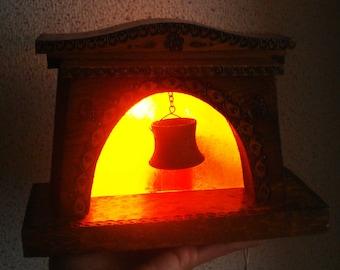 Vintage Night Lamp   Bedroom Lamp   Fireplace Lamp   Wooden Night Lamp    Decorative Night