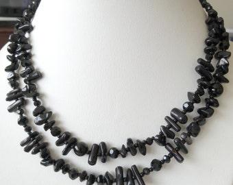 Double Strand Black Onyx Necklace; Black Onyx Necklace, Black Necklace, Gemstone Necklace