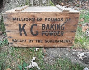 Primitive Wooden KC Baking Powder Box - Advertising