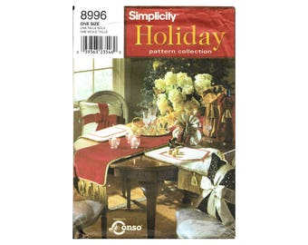 Simplicity 8996 Holiday Decor Pattern Collection Runner Placemat Wine Bottle Bag