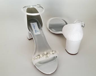 Ivory Wedding Shoes White Wedding Shoes Chunky Heels Ivory Bridal Shoes Lace Bridal Shoes with Pearls and Crystals - PICK FROM 100 COLORS