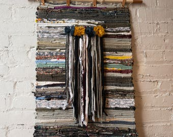 Wall Hanging- Handwoven + Rag Weaving + Boho Chic