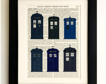 FRAMED ART PRINT on old antique book page - The Tardis old and new, Doctor Who, Upcycled Wall Art Print Encyclopaedia Dictionary Page