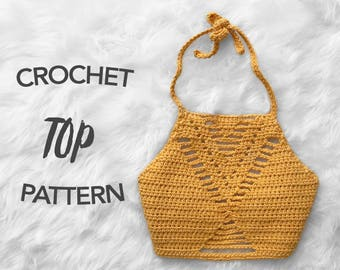 crochet crop top pattern, crochet pattern, crochet halter top pattern, picture tutorial, digital pattern, instant PDF download, RYDER