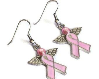 Pink Ribbon Angel Enamel Charm Earrings, Breast Cancer Awareness Survivor - Gifts for Mom