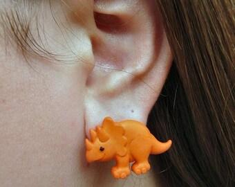 Orange Triceratop Earrings