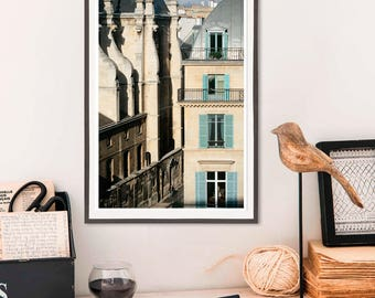 Paris architecture photography Large wall art Living room French decor, Architectural print, Window poster, Vertical art 12x18, 16x24, 20x30