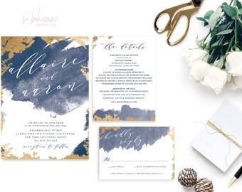 Printable Wedding Invitation Suite / Wedding Invite Set - The Allaire Gold Suite