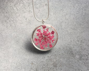 Pink Queen Anne's Lace in Silver Open Back Resin Pendant Necklace, Pressed Flowers, Resin Jewelry