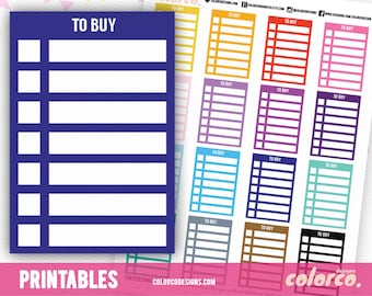 TO BUY Stackable Sidebar Checklists Printable Planner Stickers Erin Condren Happy Planner Inkwell Plum Paper Instant Digital Download