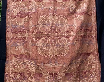 Edwardian Tablecloth With Japanese Pagoda, People And Architectural Elements