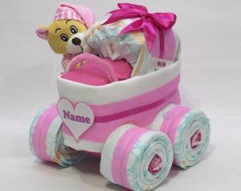 Diaper cake diaper stubenwagen xl tyre bear pink
