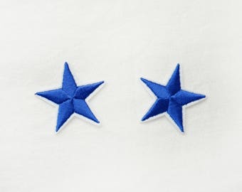 2x blue stars military pinup Rockabilly fashion custom Iron On Embroidered Patch Applique Star rock tattoo