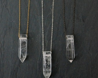 Quartz Necklace / Quartz Crystal Necklace /  Crystal Necklace / Silver Quartz Necklace / Clear Quartz / Quartz Pendant