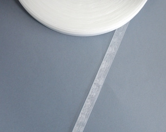 5 meters of 10 mm white organza Ribbon