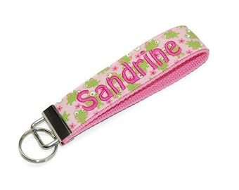 Personalized Frog Wristlet Keychain  -  Custom Embroidered with your Initial 3 Letter or Name Key fob