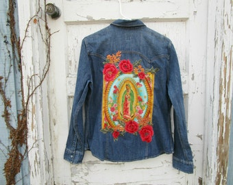 Virgen de Guadalupe Denim Shirt Blouse// Large// Virgin Mary// Religious Icon// Embroidered Floral Applique// emmevielle