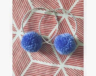 Purple small pom pom hoop earrings