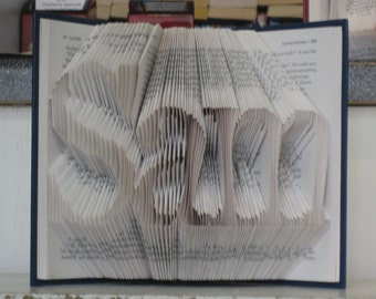 Folded Book Art Sculpture -  3 letter name - Birthday, Boyfriend, Girlfriend, New Baby - Made to Order