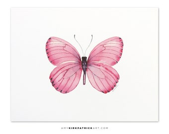 Pink Butterfly Painting, Butterfly Print, Original Pink Butterfly Watercolor, Butterfly Greeting Cards, 106 Pink Marcia Butterfly